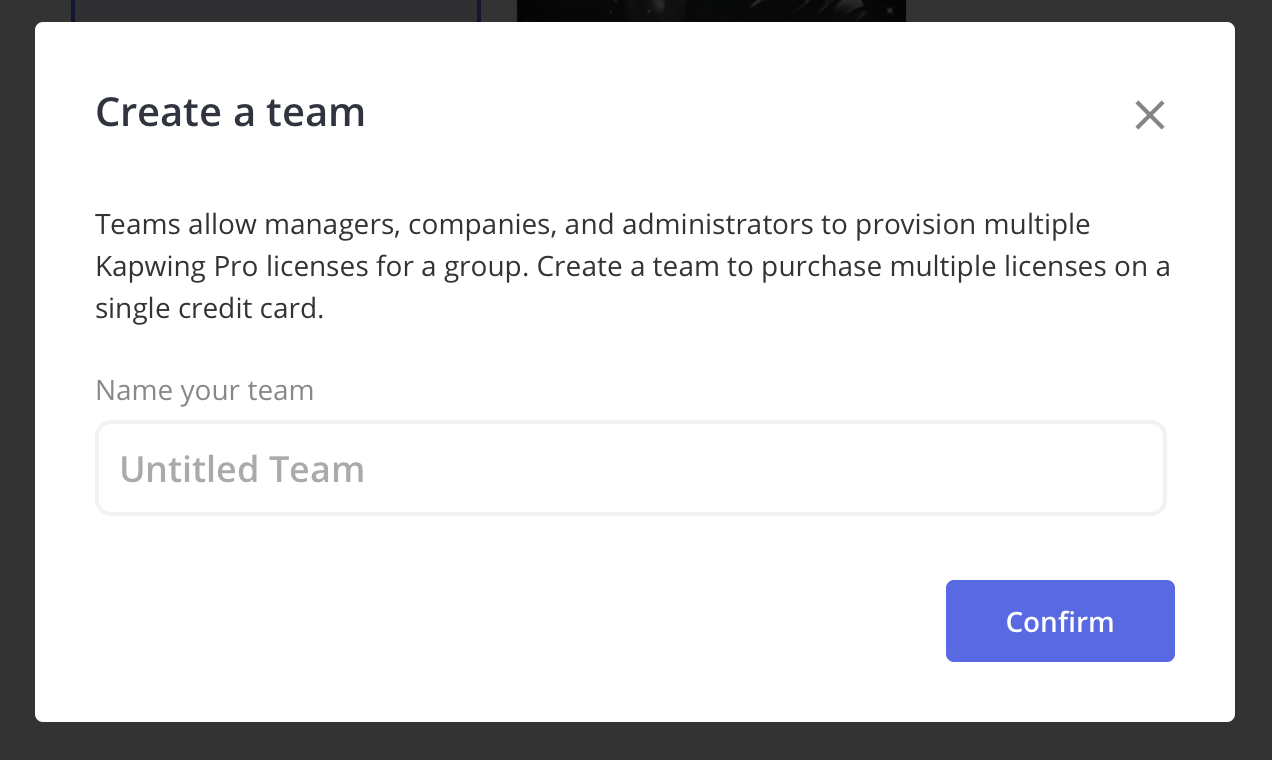 Create a team modal appears