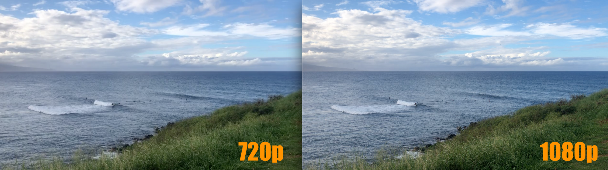 Two screenshots, side by side, showing a comparison of what 720p resolution looks like on the left and 1080p resolution looks like on the right. The images are mostly the same with some greater color vibrancy and crisp detailing on the right image.