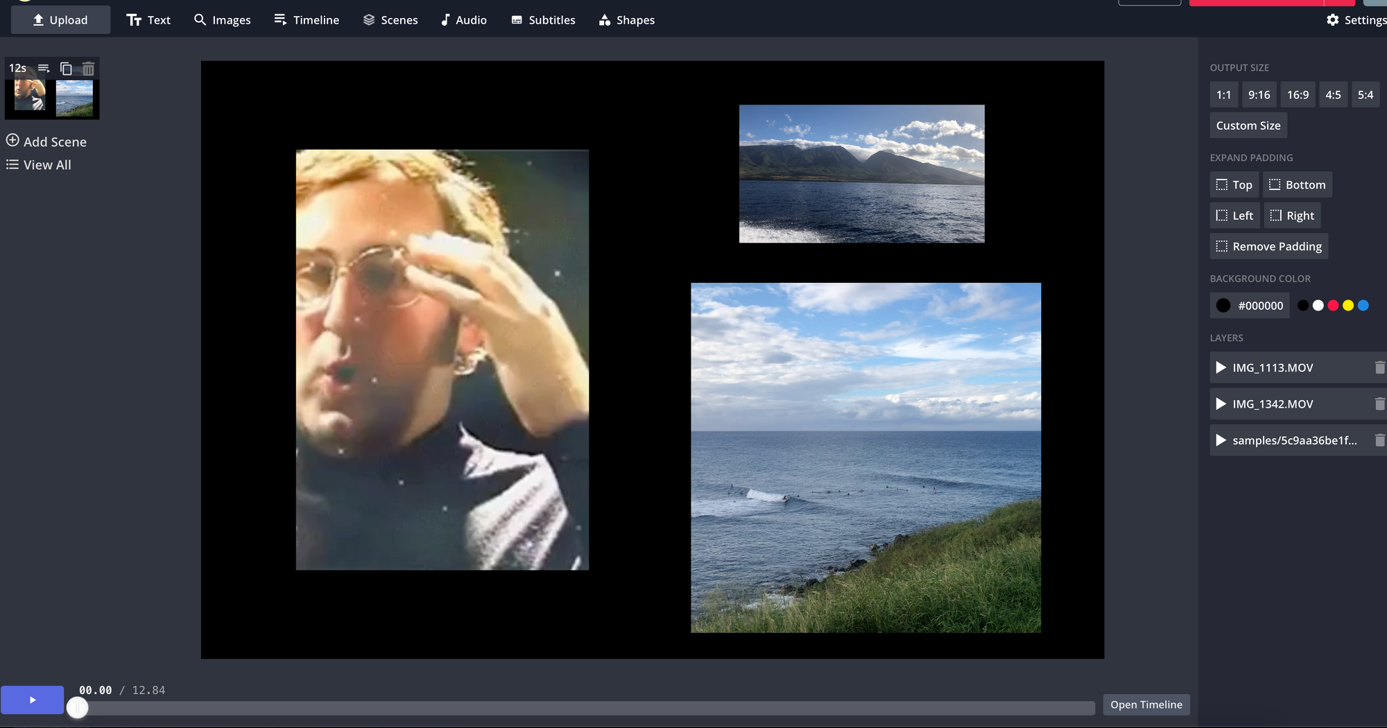 A screenshot of Kapwing's Studio editor, showing a canvas with three videos, all of different sizes and aspect ratios.