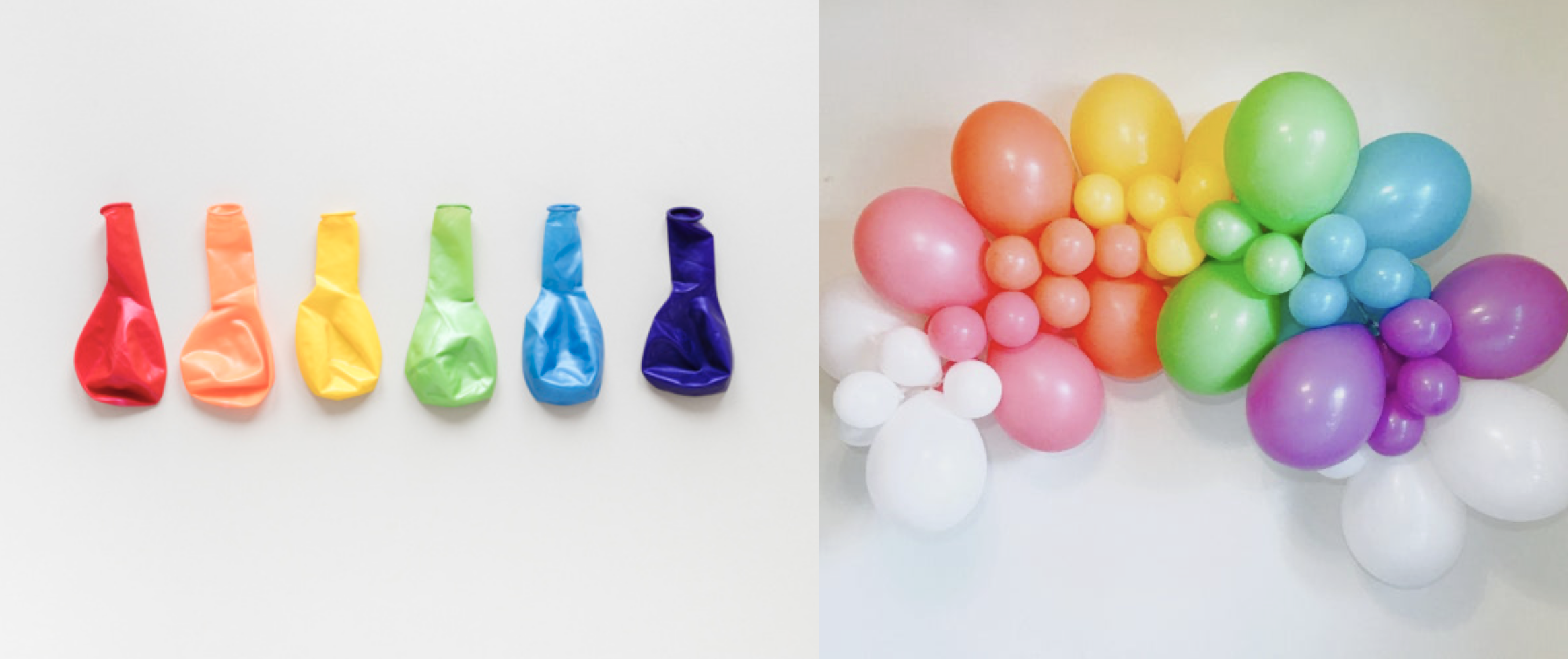 On the left side, an image of six deflated balloons in the colors of a rainbow, from red on the left to indigo on the right. The right side image shows an arch of rainbow balloons blown up. They are less vibrant than the deflated balloons.