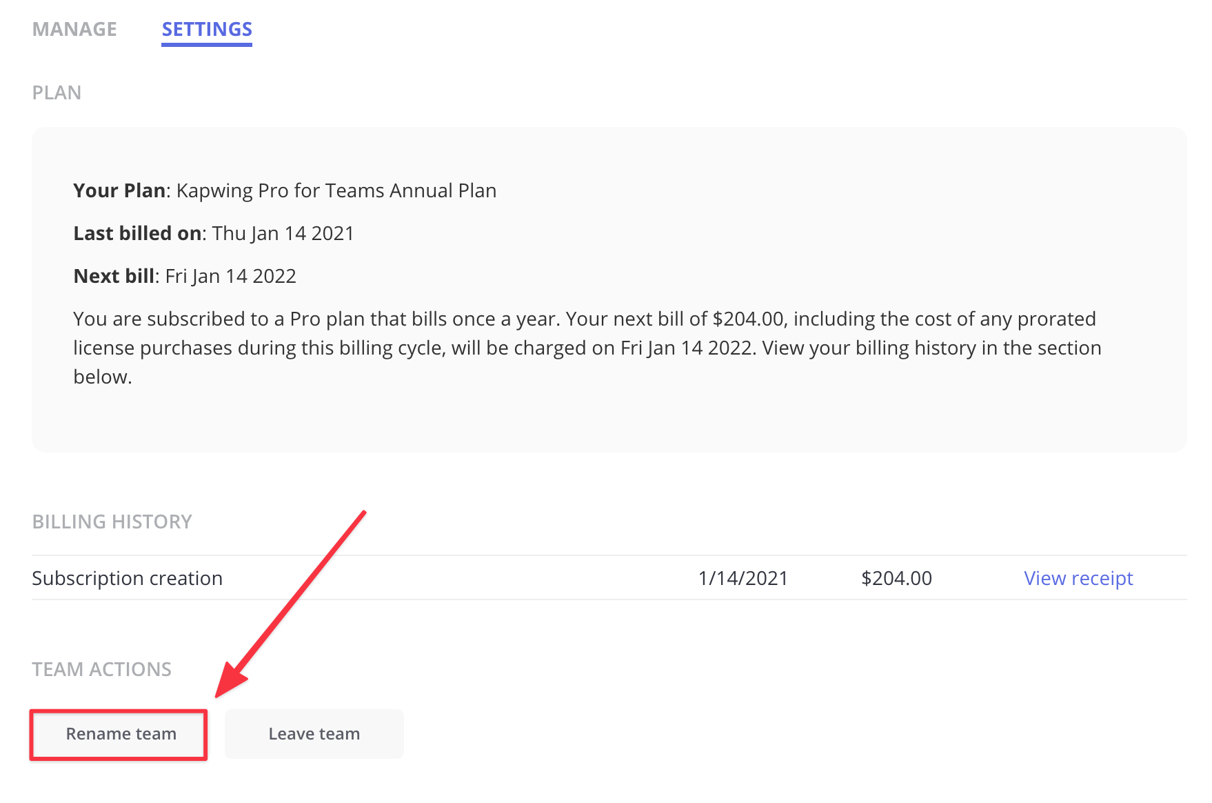 The Rename Team button is on the Settings tab of the Team page view under the Team Actions section