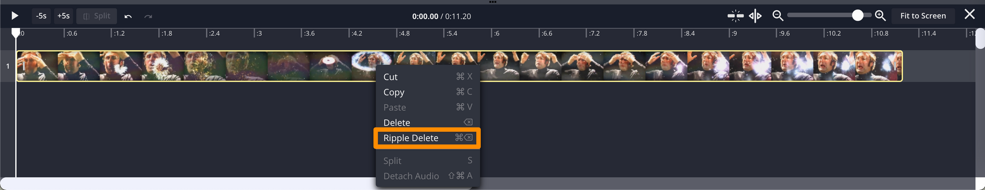 """A screenshot showing """"Ripple Delete"""" as an option in the Timeline dropdown menu."""