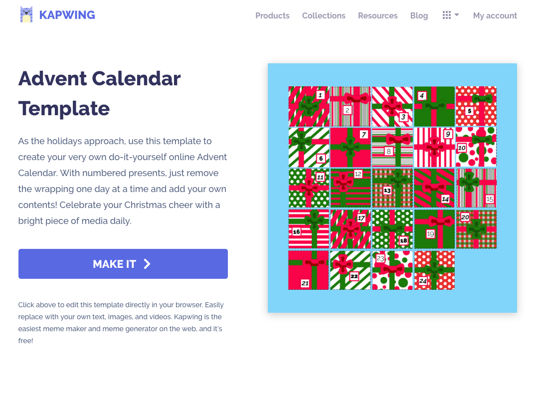 Kapwing's advent calendar template