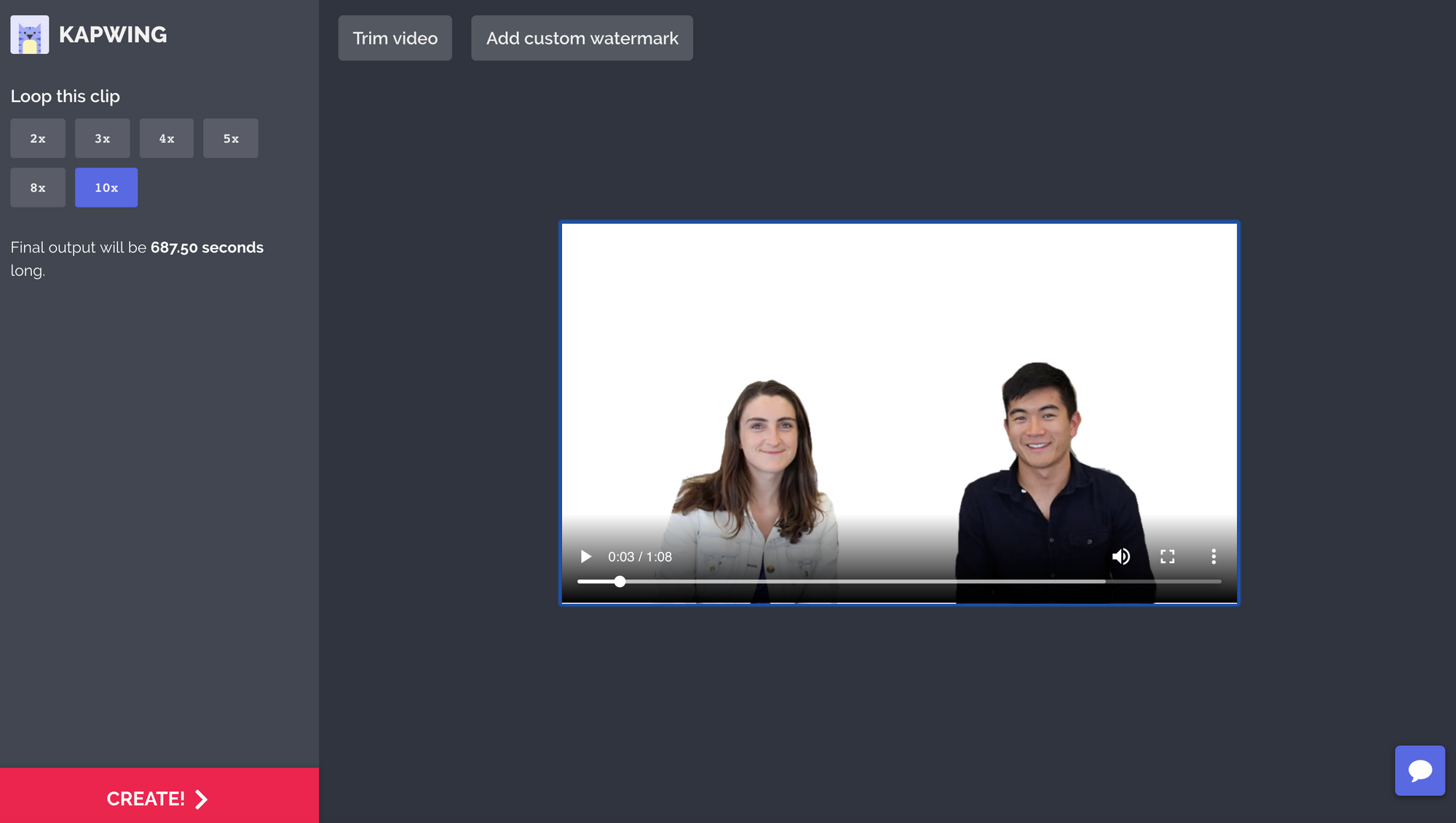 youtube video in the loop tool by Kapwing