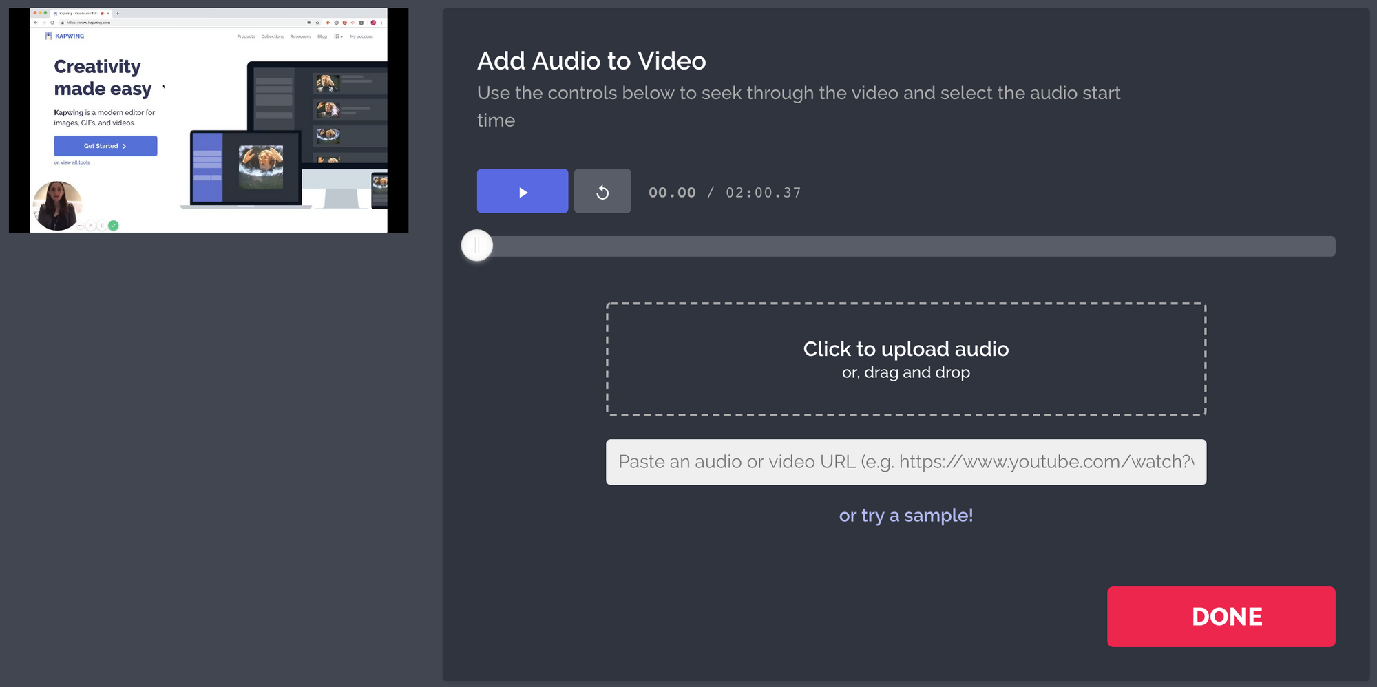 A screenshot of the Kapwing Studio, showing how to add music to a video.