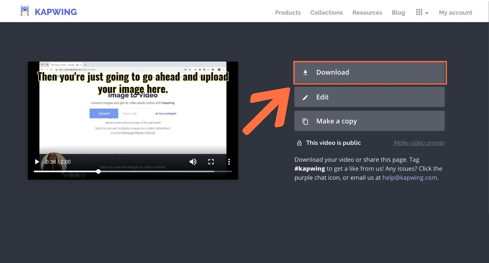 A screenshot showing how to download content from Kapwing.