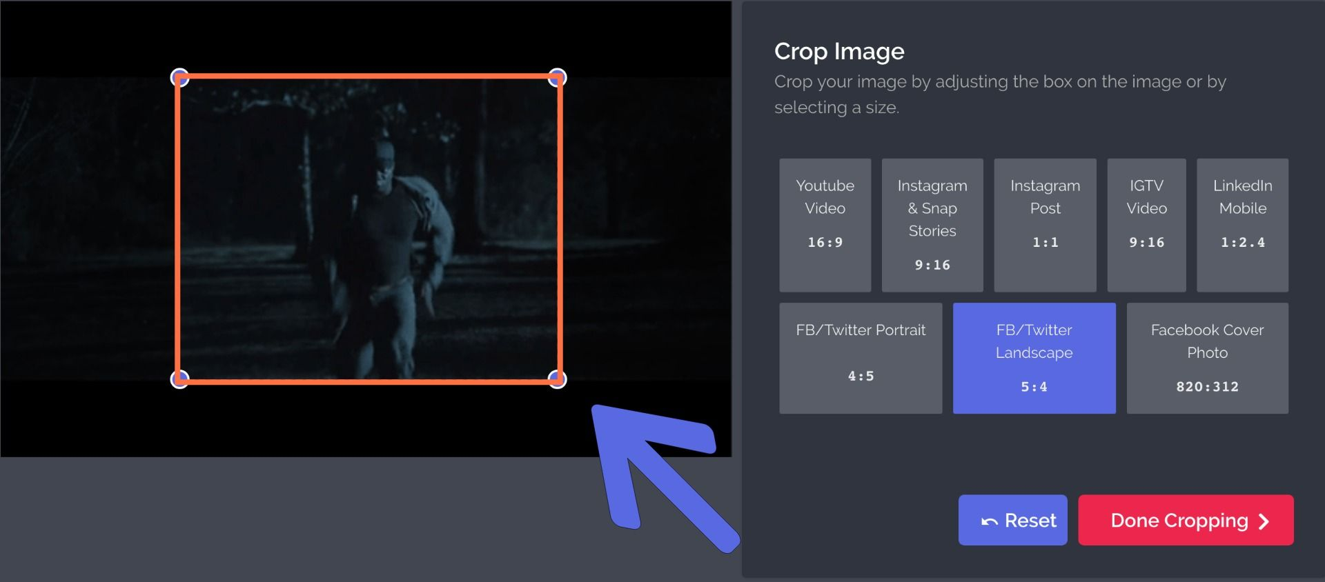 A screenshot showing how to use Kapwing's Crop tool for GIFs.