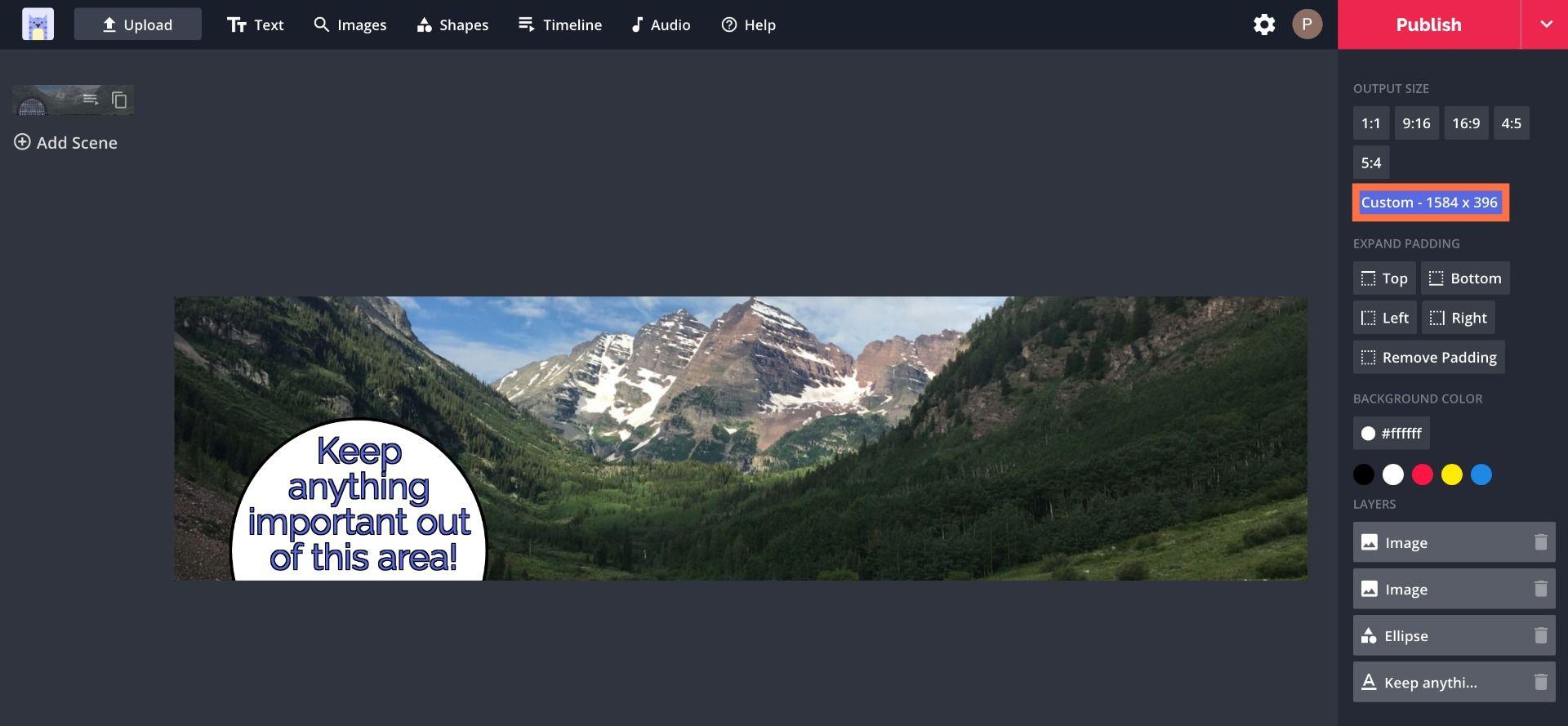 A screenshot of a LinkedIn profile banner in the Kapwing Studio.