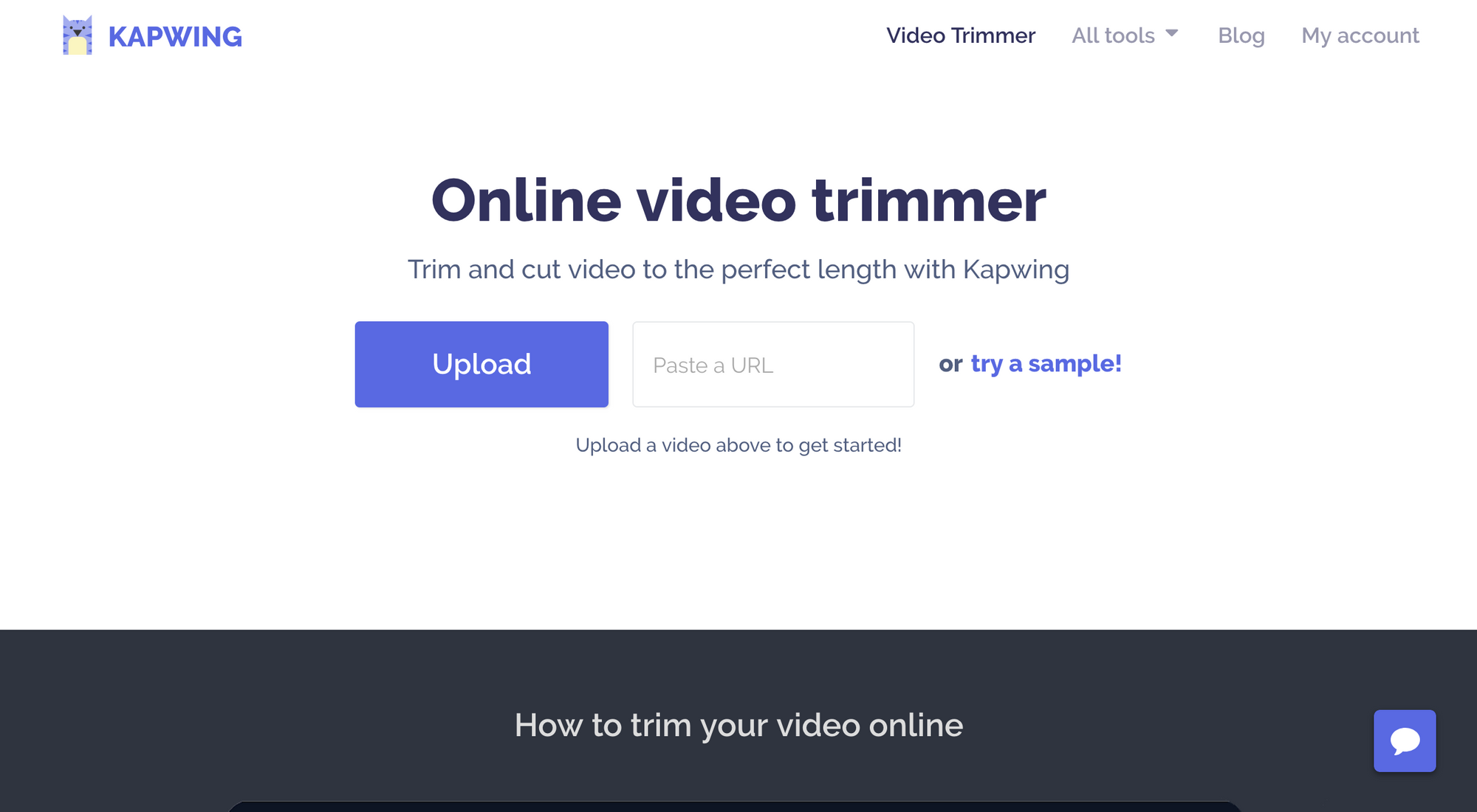 Video Trimmer Homepage, Kapwing