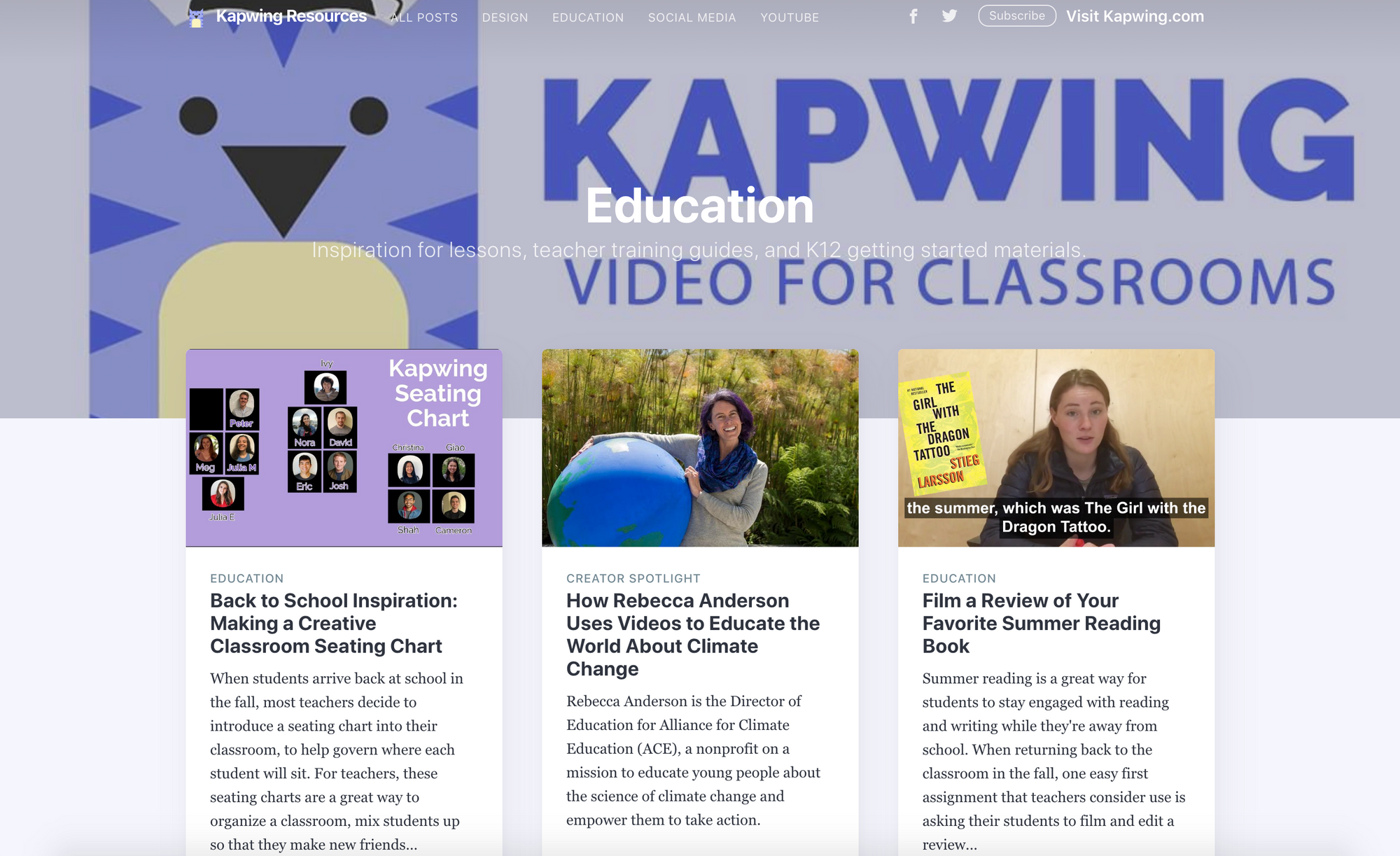 """A screenshot of the """"education"""" section of the Kapwing Resources library."""
