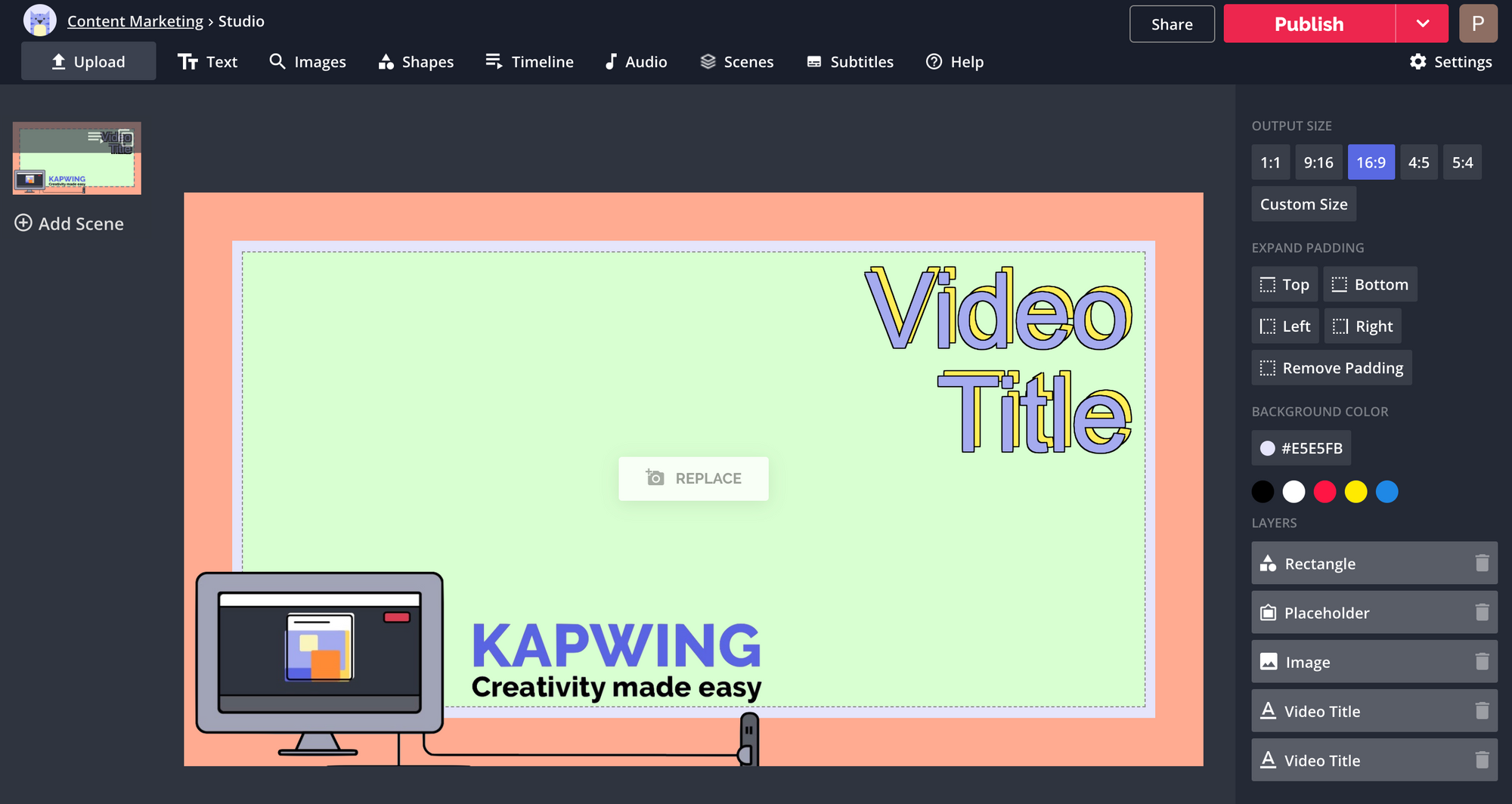 A screenshot showing an editable content template in the Kapwing Studio.