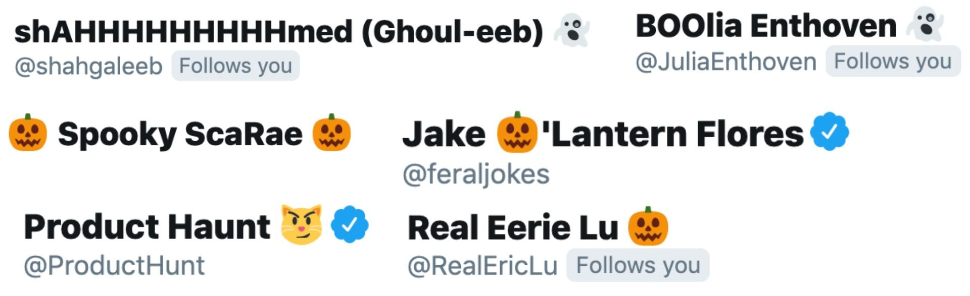 Several screenshots of Halloween-themed Twitter usernames.