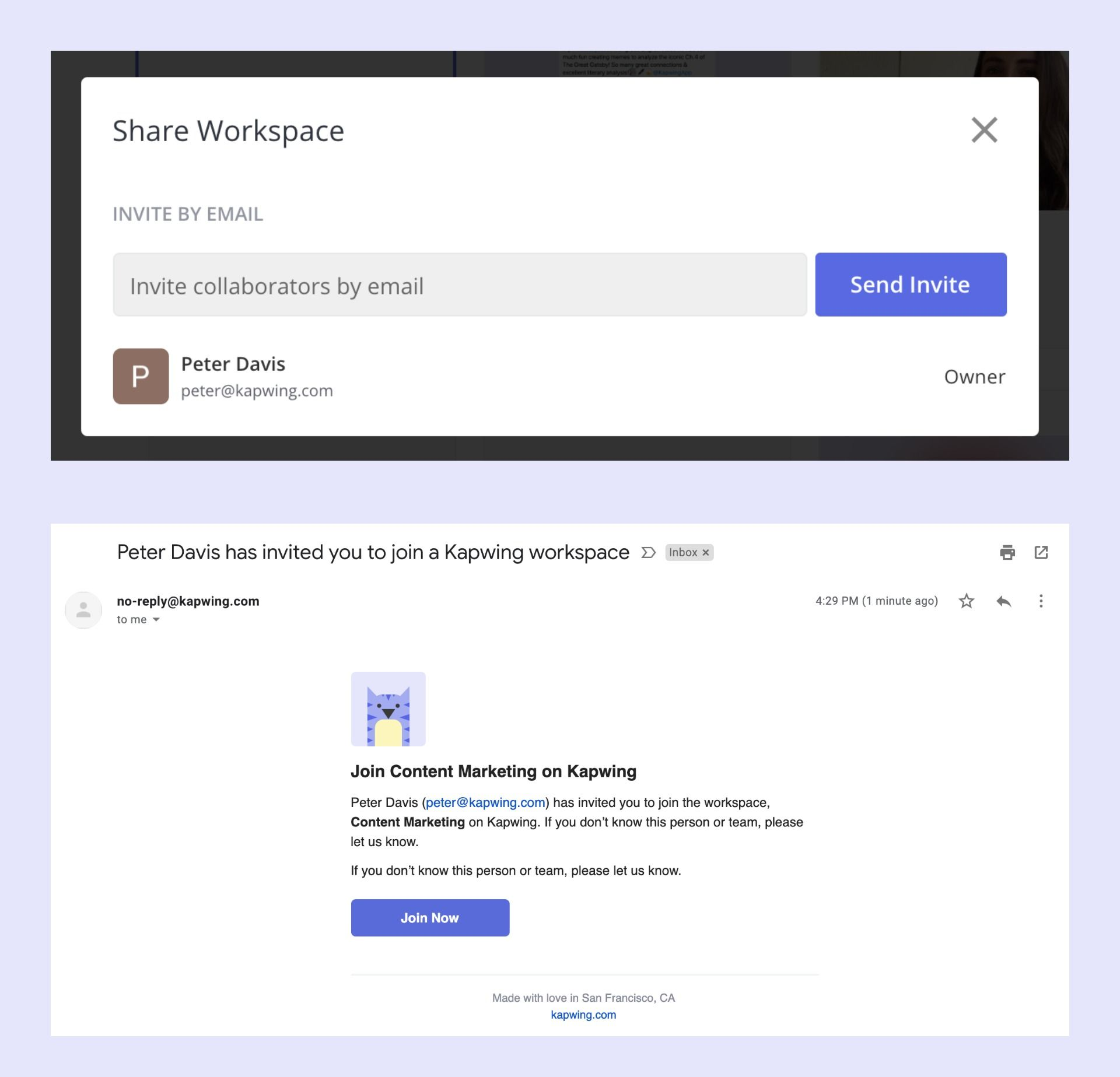Screenshots showing how to send and accept Kapwing Workspace invitations.