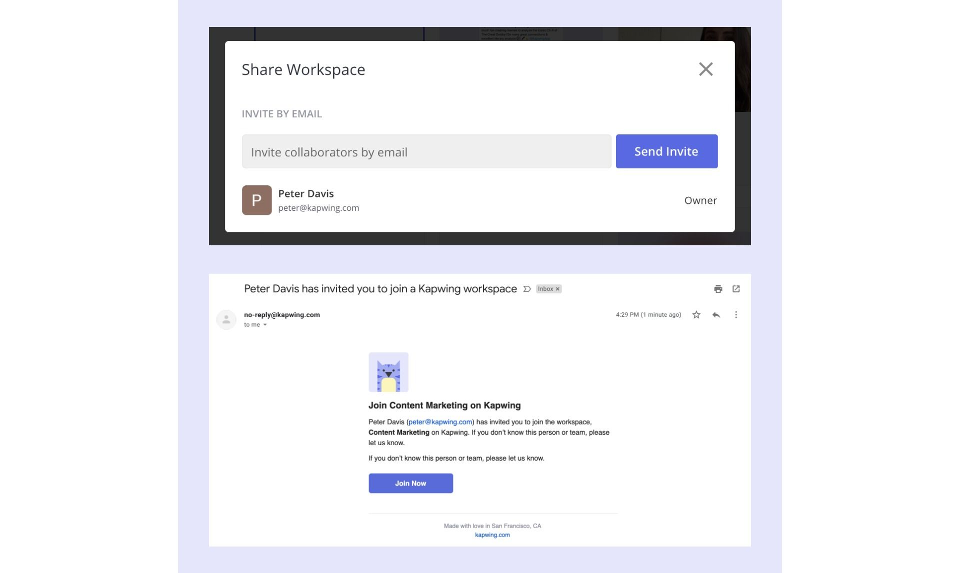 Screenshots demonstrating how to send and accept shared Workspace invitations.
