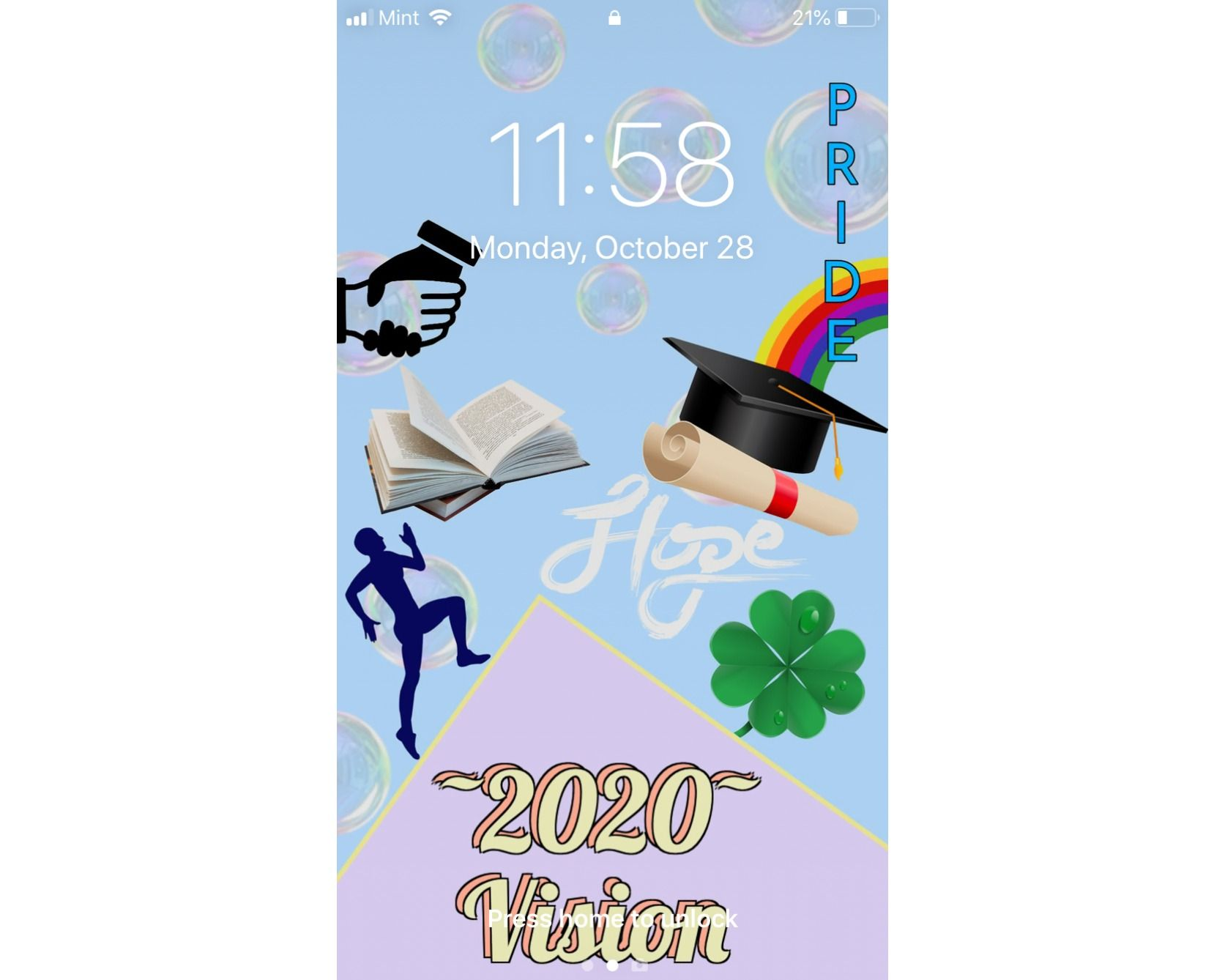A screenshot of a digital vision board being used as a phone lockscreen.