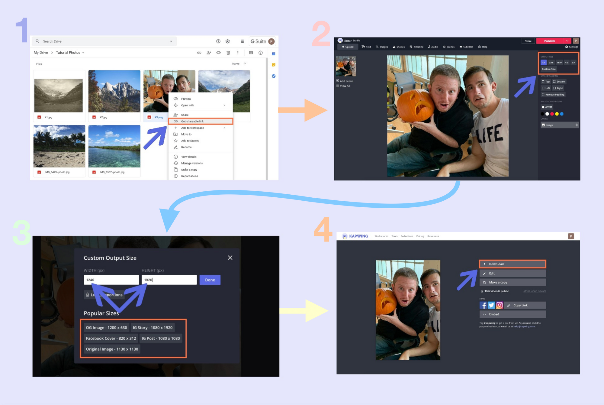 4 screenshots detailing the process of resizing a photo in the Kapwing Studio.