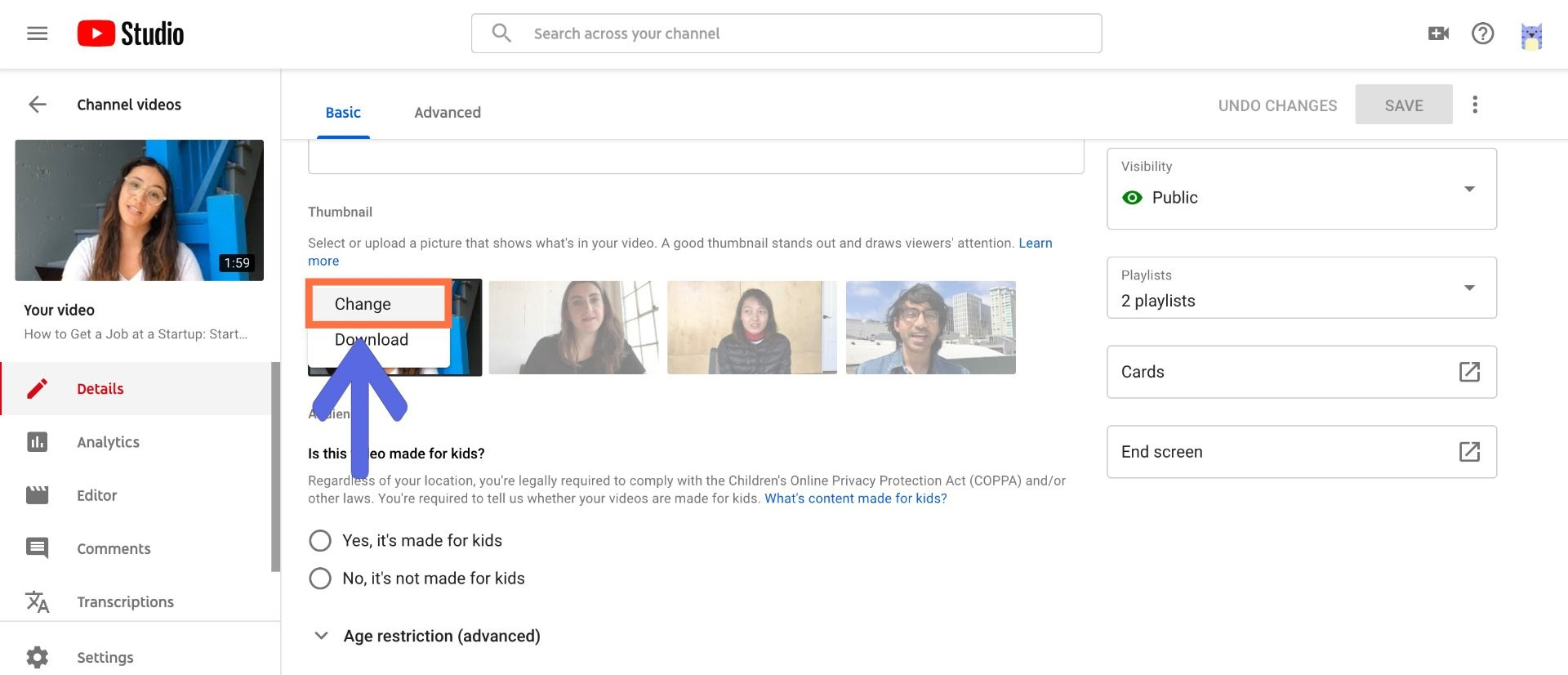 A screenshot showing how to upload custom thumbnails to YouTube videos.