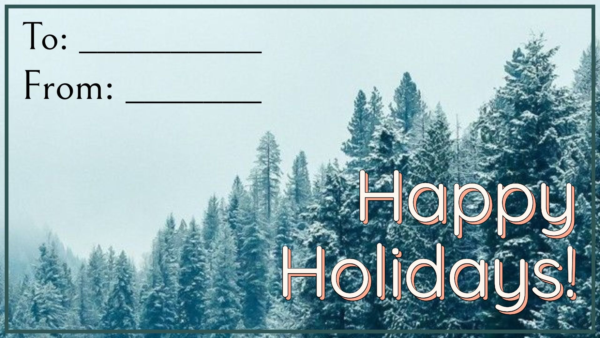 The first holiday ecard template, with snowy trees.