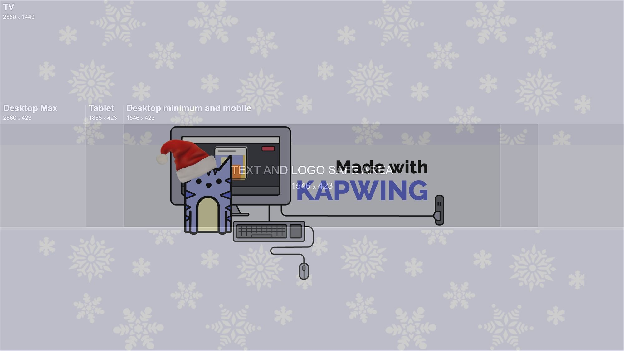 A screenshot of Kapwing's YouTube channel art template.
