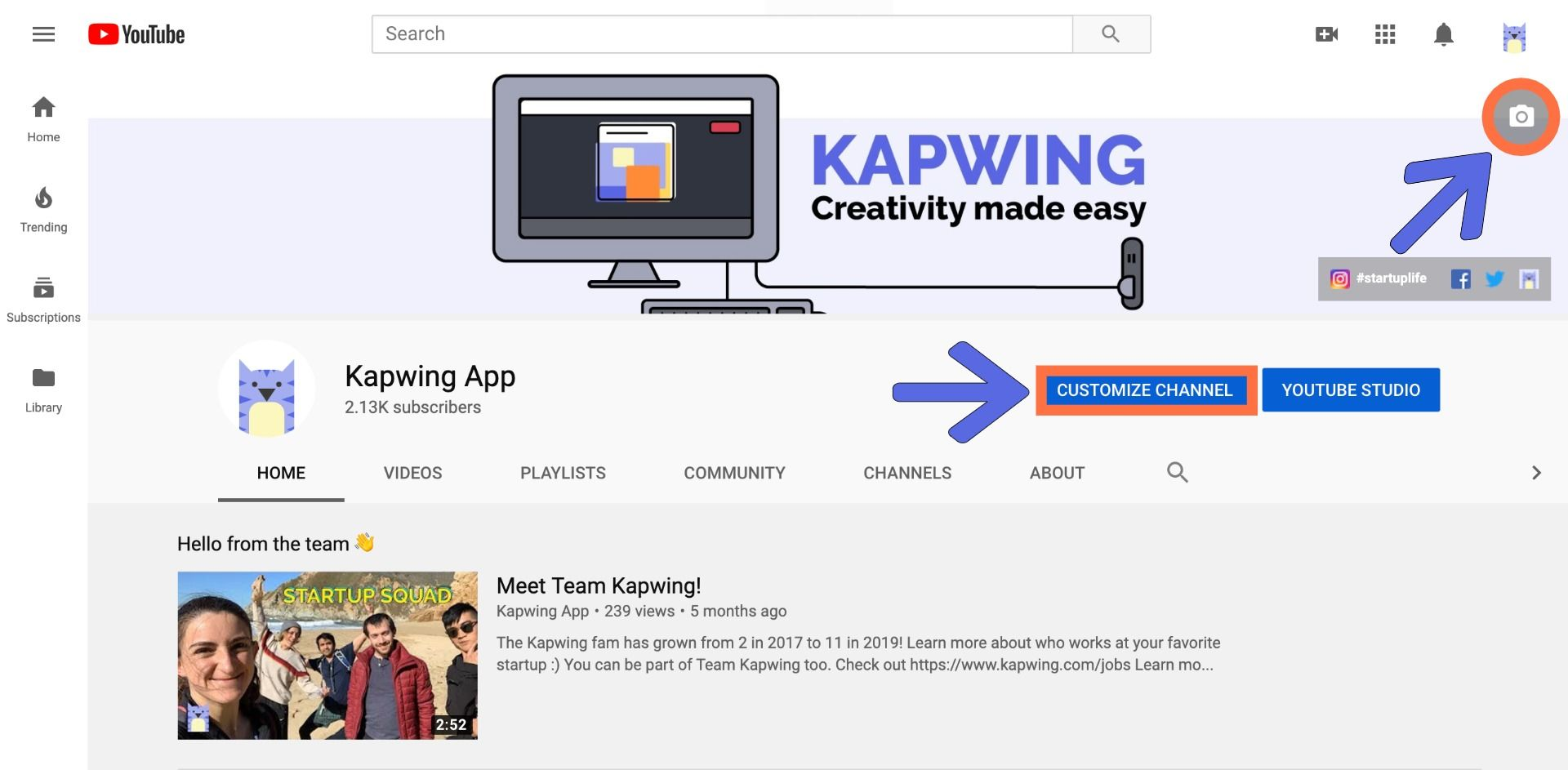 A screenshot showing how to customize you channel art in YouTube.