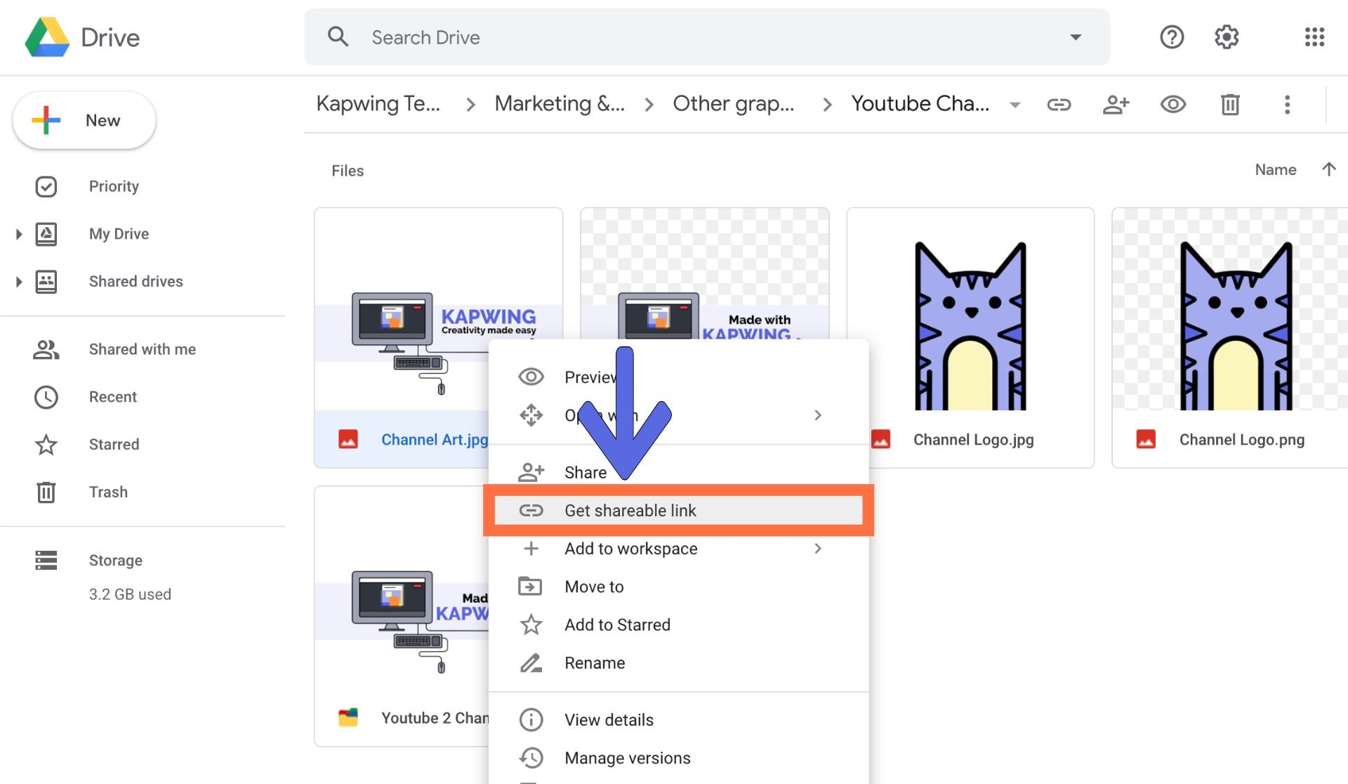 A screenshot showing how to download images from Google Drive.