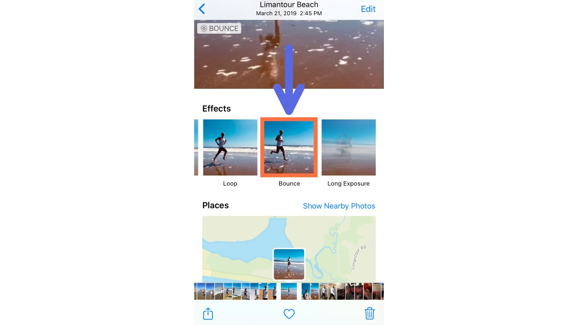 A screenshot showing the Live Photo Bounce and Loop options on iPhone.