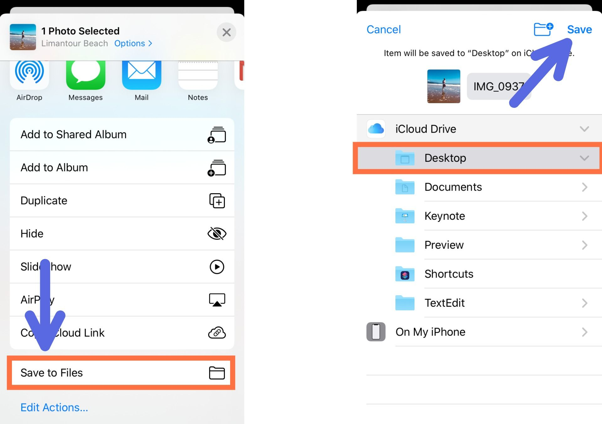 Screenshots showing how to save a Live Photo to an iPhone's files.