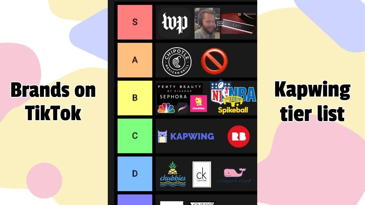 "Kapwing's ""Brands on TikTok"" tierlist."