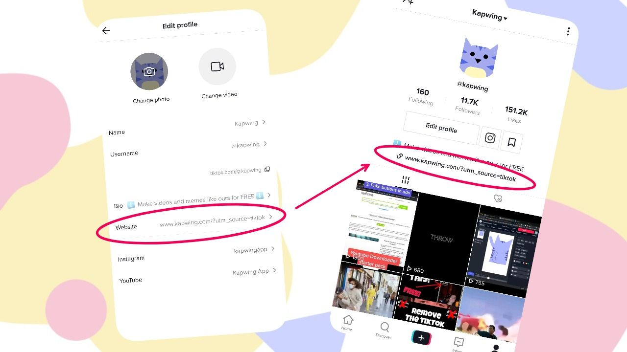 A set of screenshots showing how to add a link to your TikTok bio.
