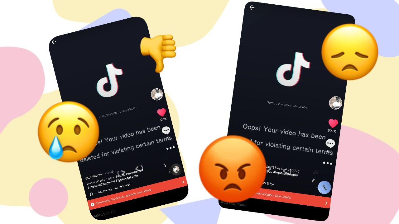 Screenshots of videos that have been removed from TikTok for violations.