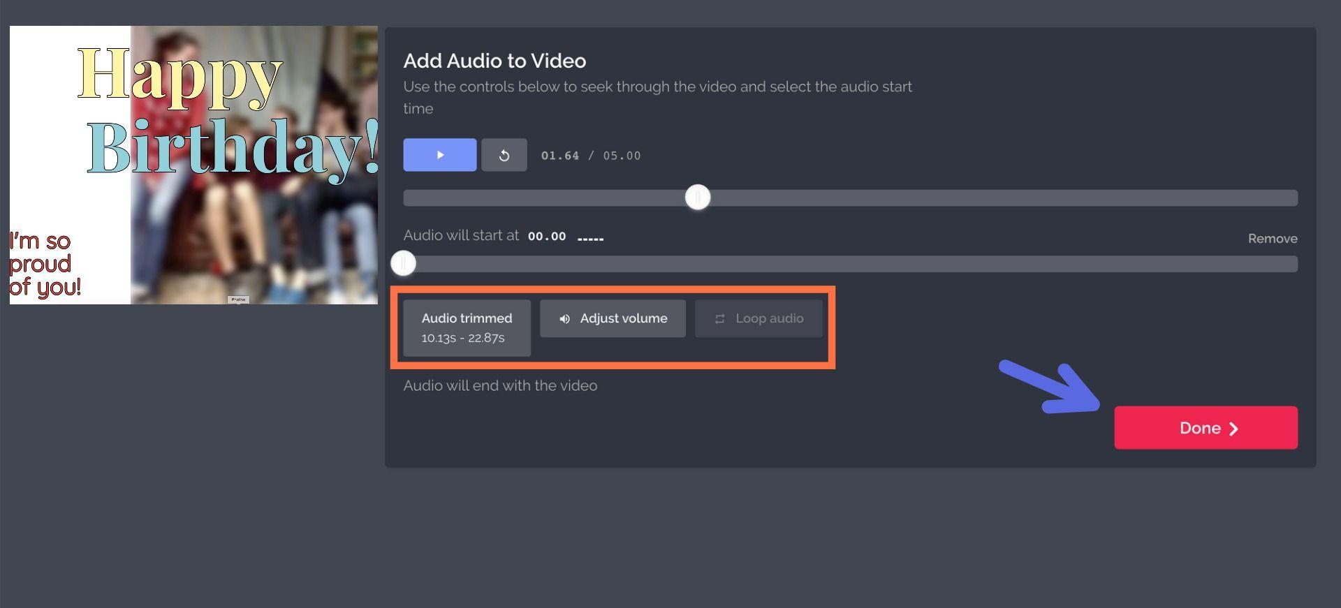 A screenshot showing how to add music using Kapwing.