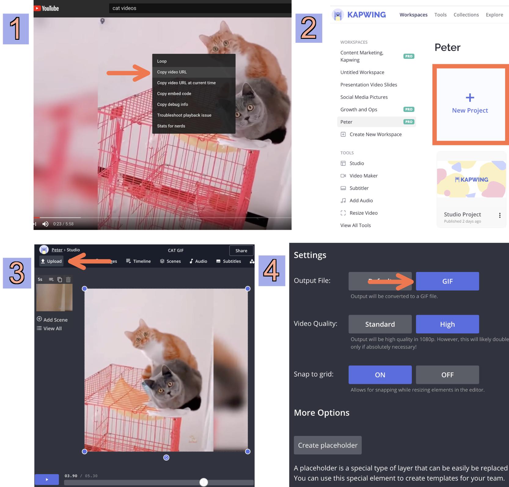Screenshots showing how to create GIFs using Kapwing.