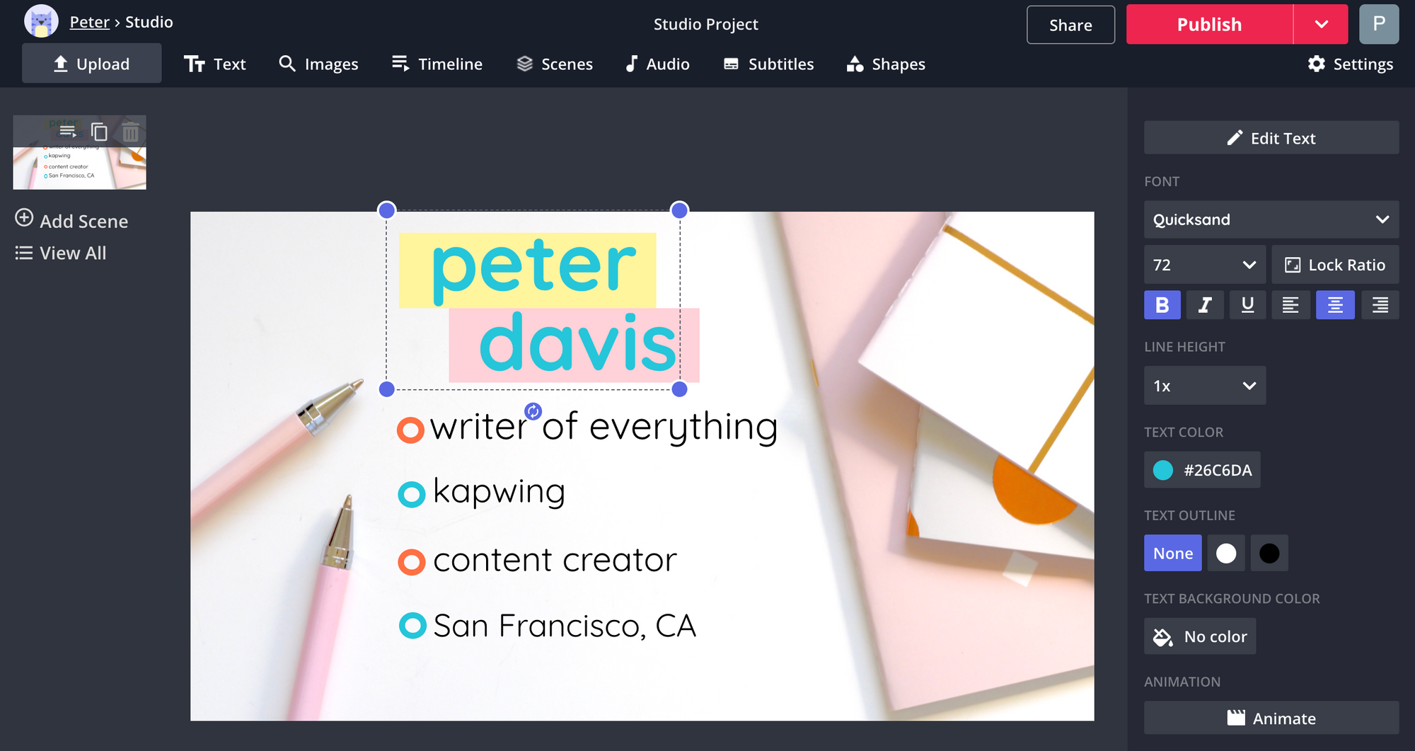 A screenshot from the Kapwing Studio, showing text editing techniques.