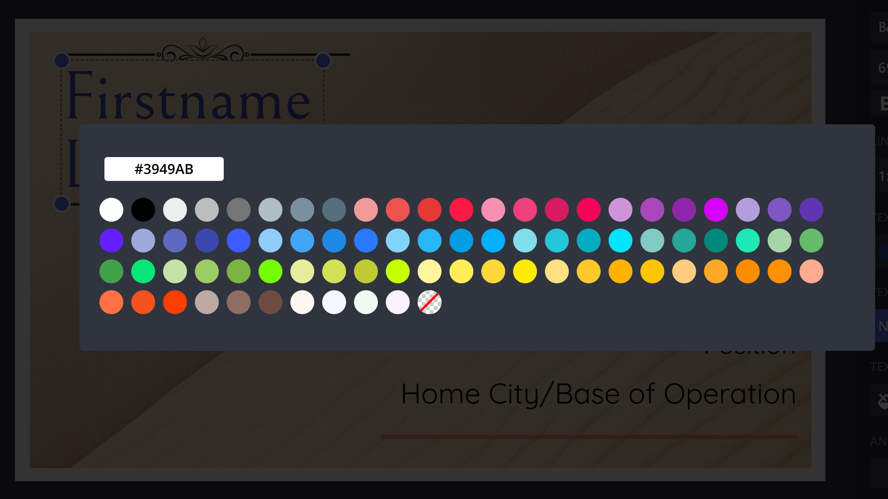 A screenshot from the Kapwing Studio, showing how to edit custom colors.