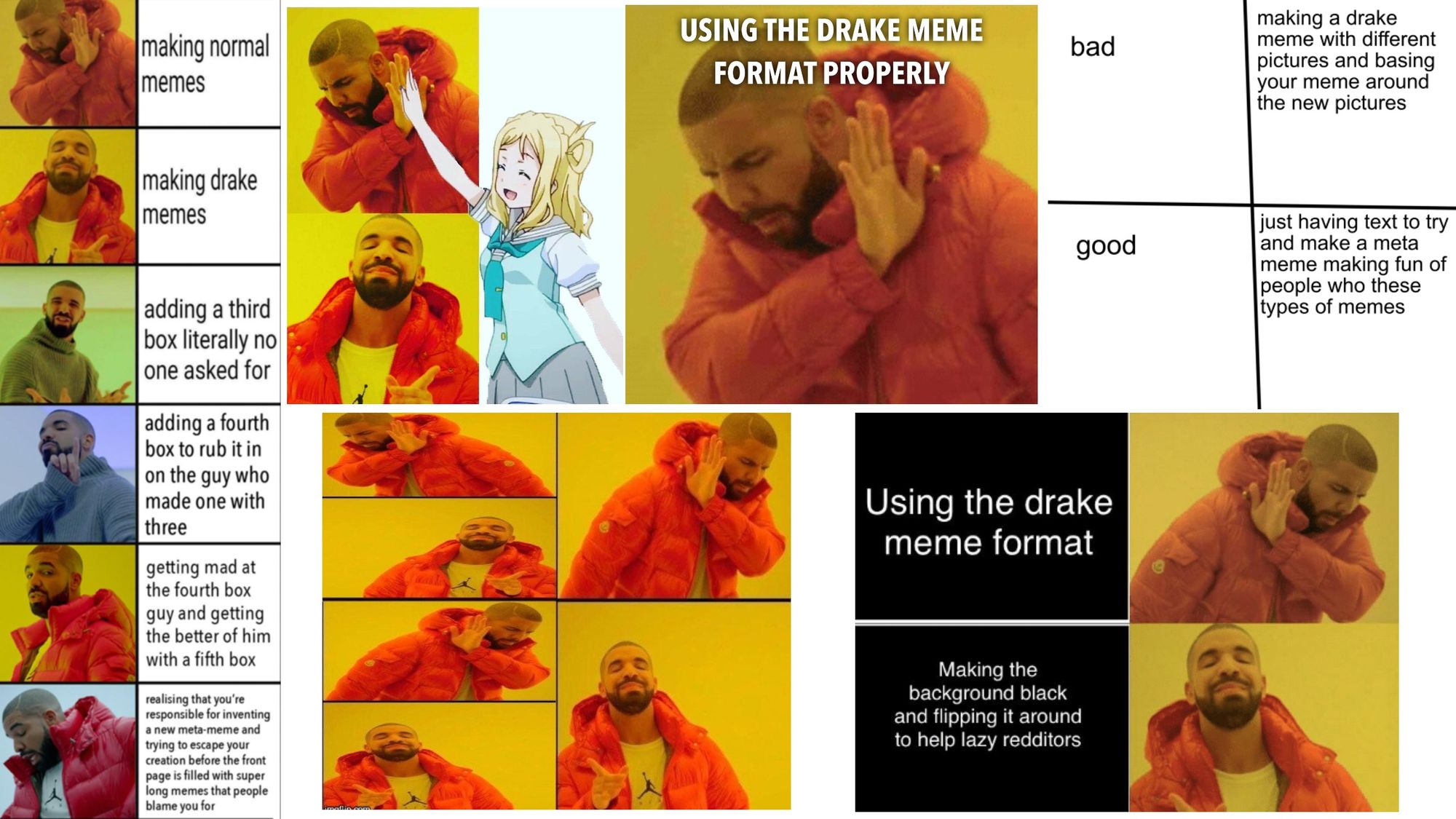 Humorously incorrect versions of the Drake reaction meme.