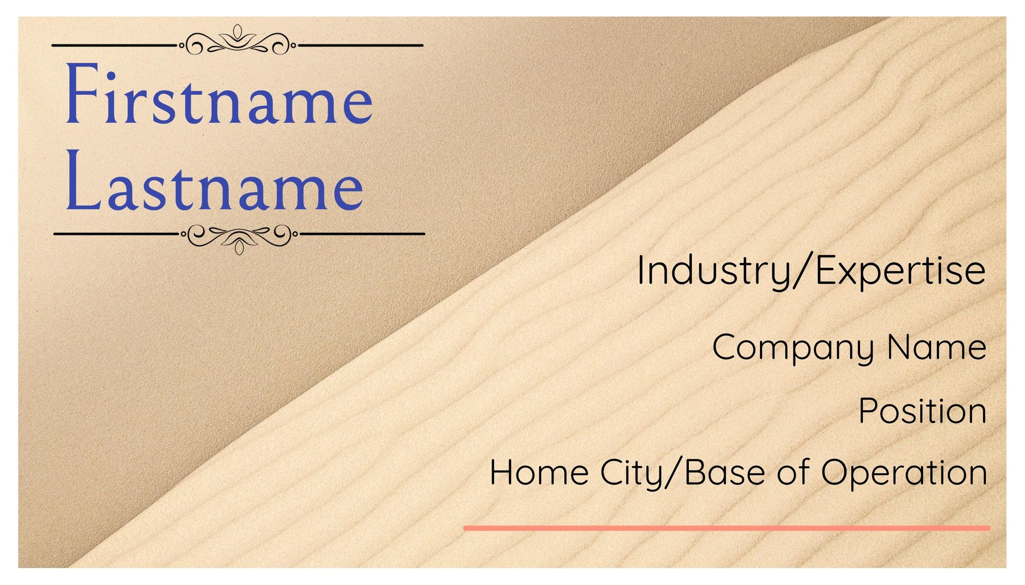 The second business card template, featuring a beige sand background.