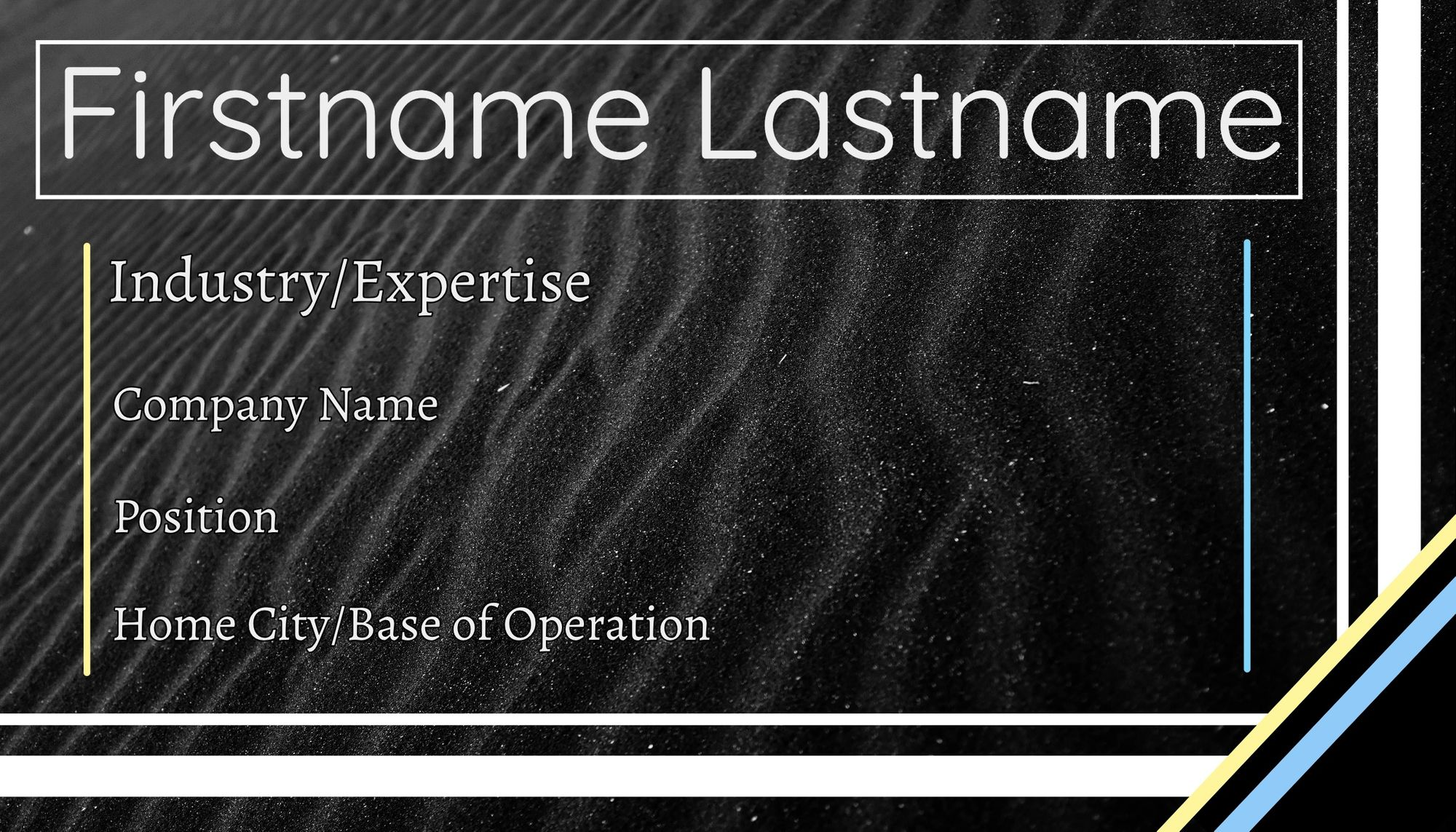 The first business card template, with a black sand background.