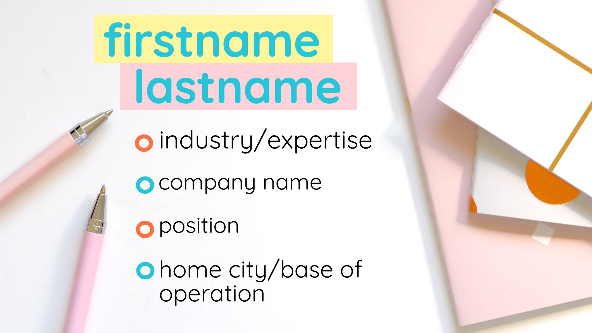 The third business card template, with a colorful pink and yellow theme.