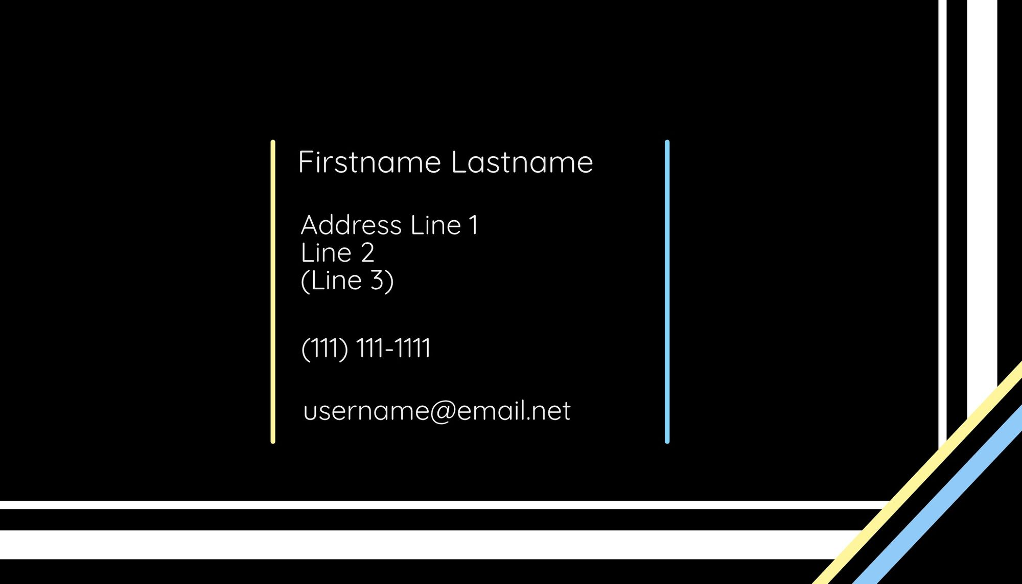 The reverse side of the first business card template.