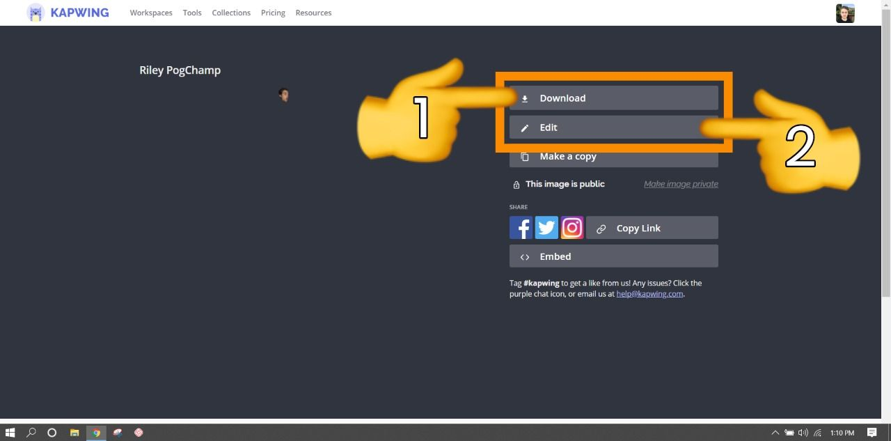 A screenshot showing how to download and edit projects from Kapwing's final video page.