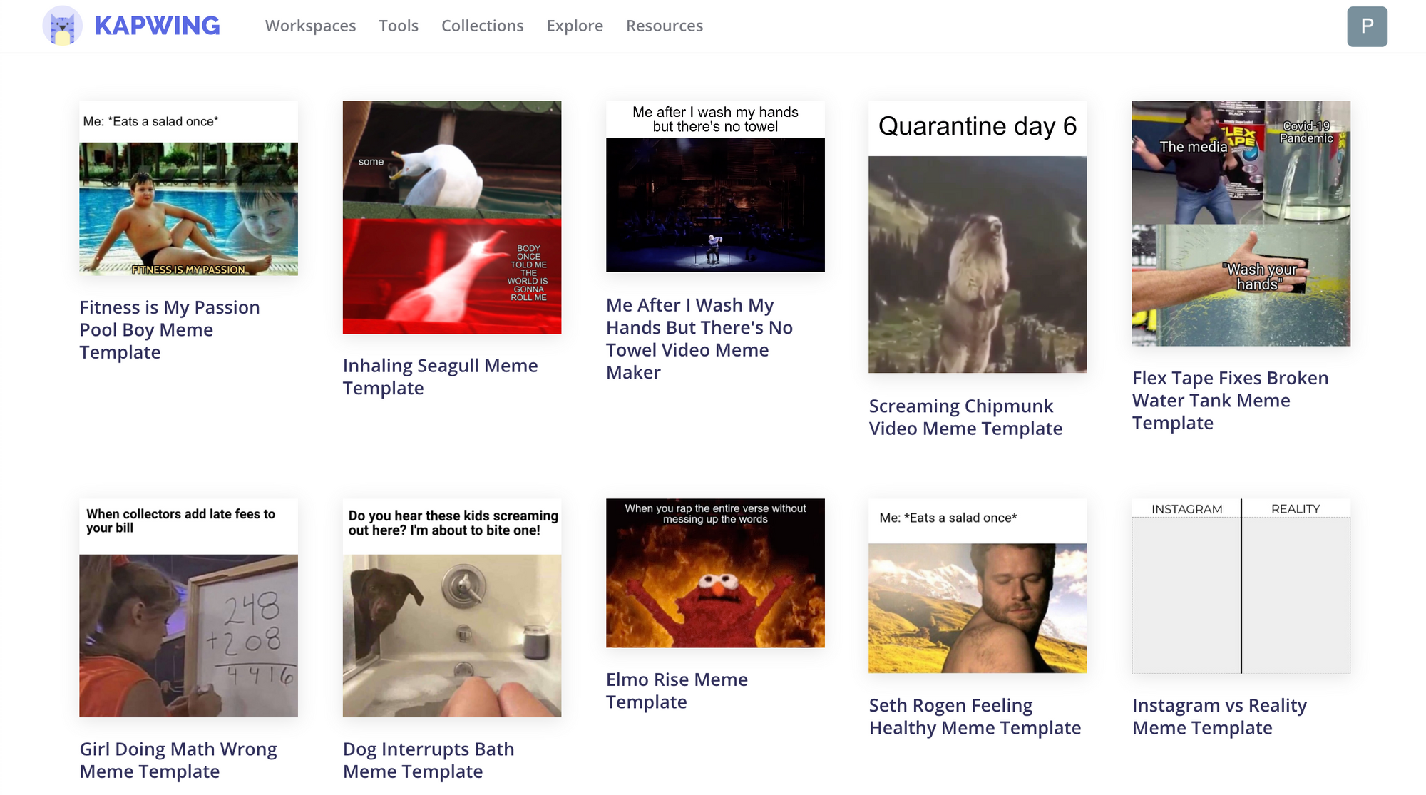 A screenshot of the Kapwing Meme templates page.