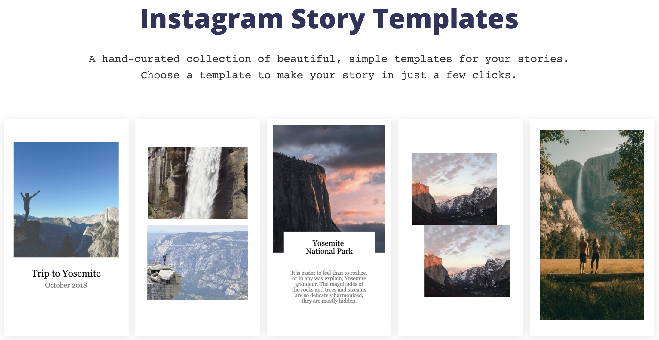 A screenshot of the Kapwing Instagram Story Templates page.