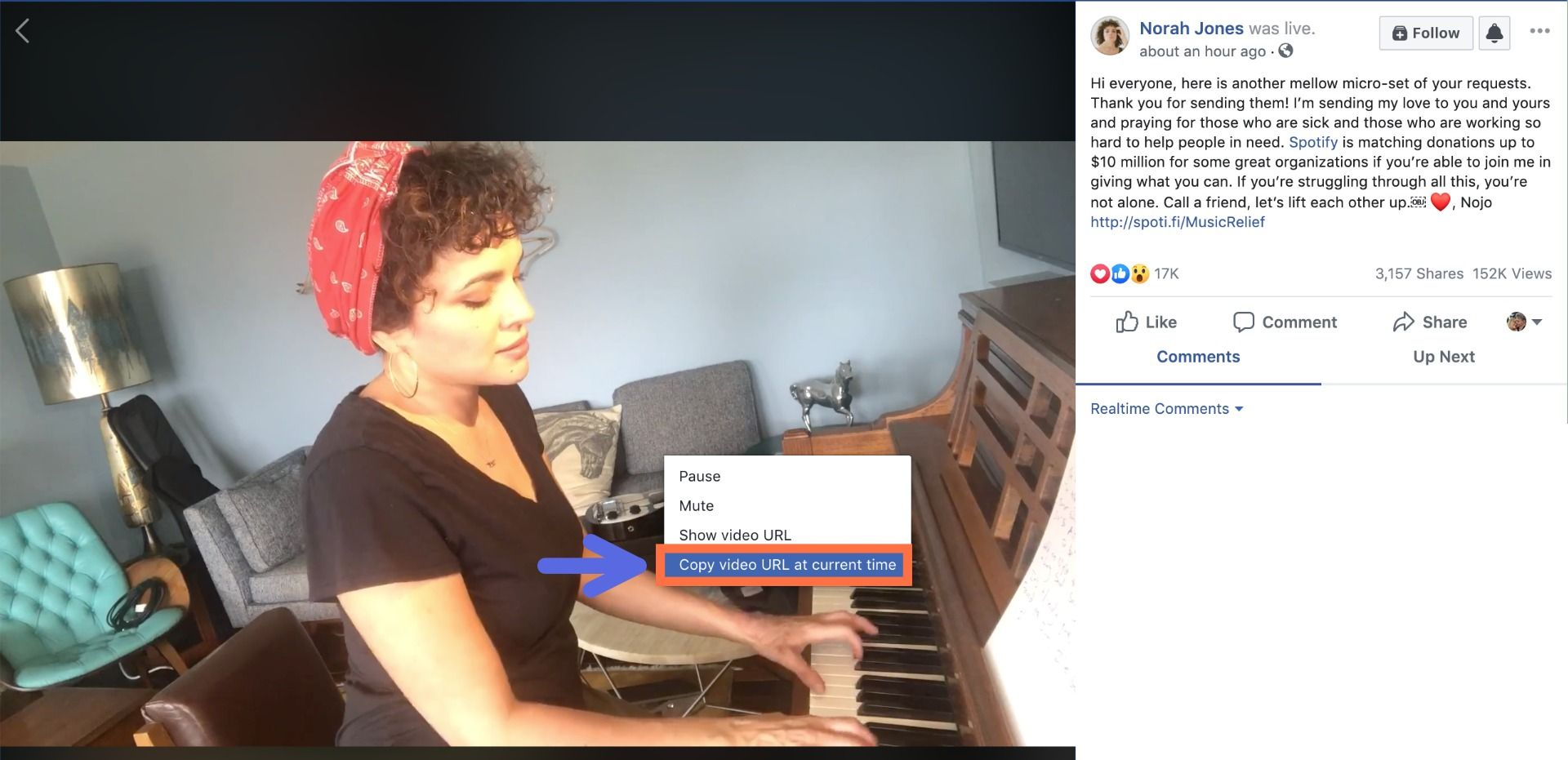 A screenshot showing how to copy links from Facebook videos.