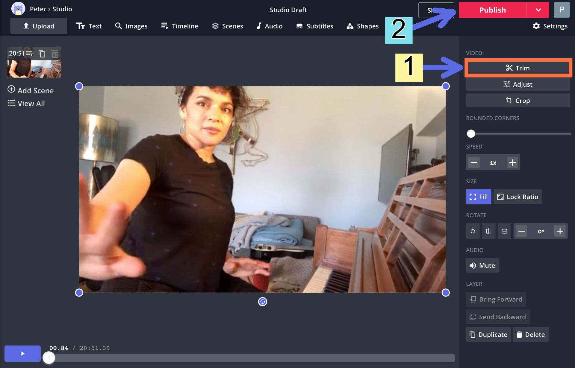 A screenshot showing how to trim and export videos in the Kapwing Studio.