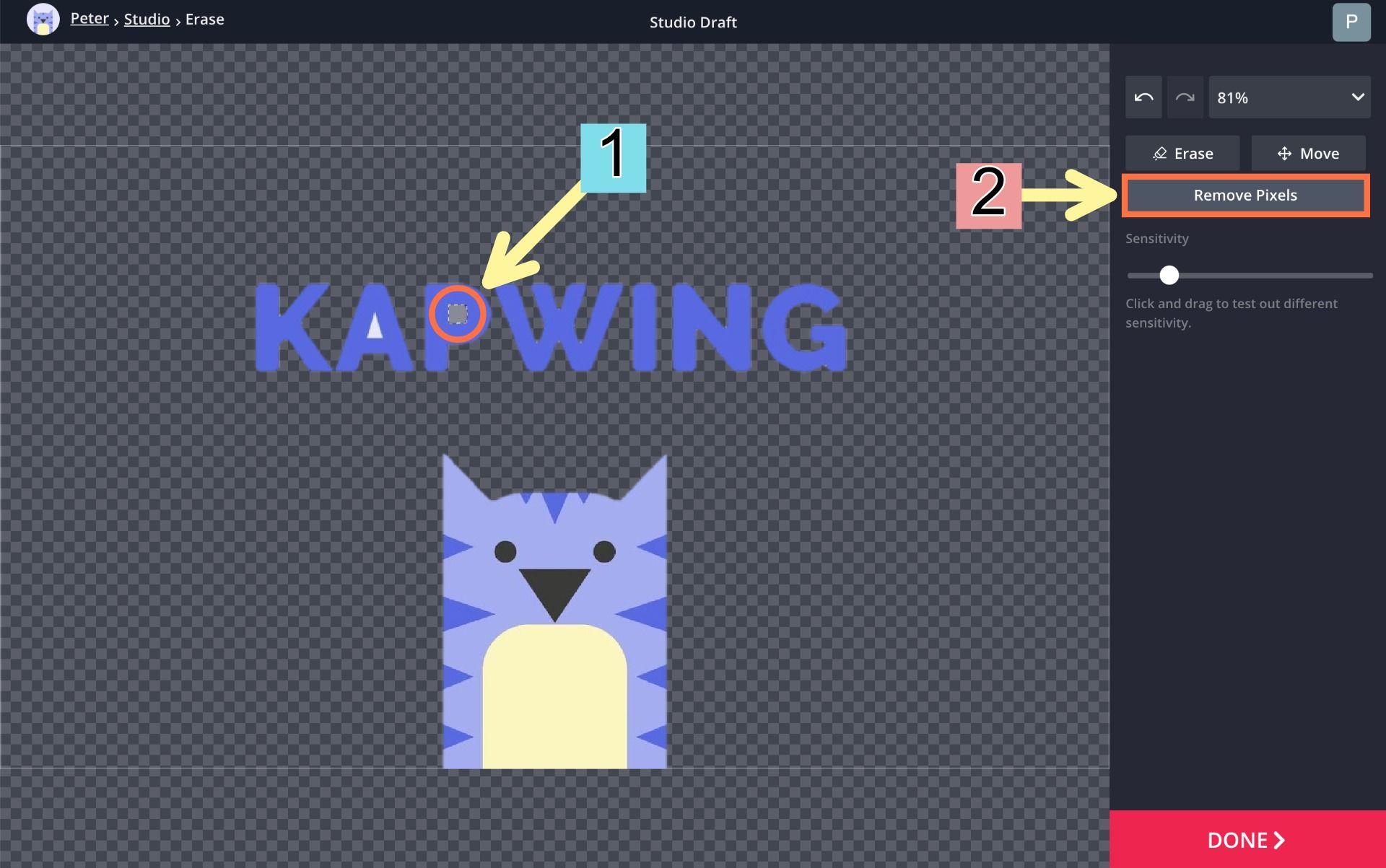 A screenshot of the Kapwing Eraser tool.
