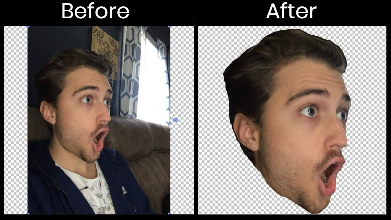 """""""Before"""" and """"After"""" screenshots of a photo with the background erased."""