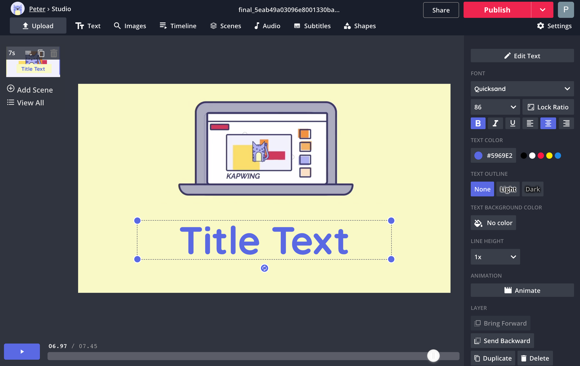 A screenshot showing how to add text to videos in the Kapwing Studio.