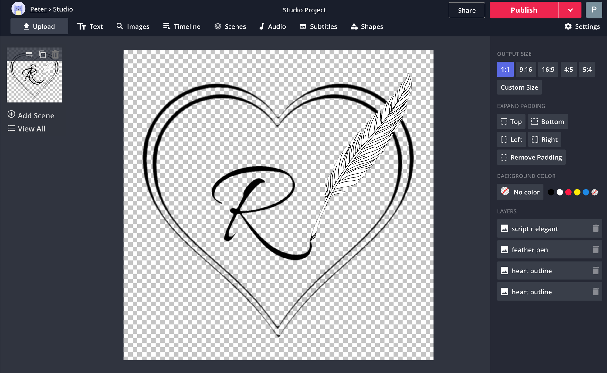 A screenshot of a tattoo being designed in the Kapwing Studio.