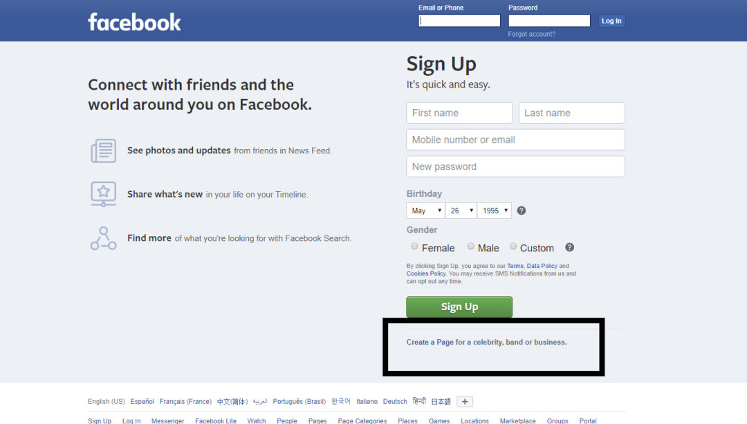 A screenshot from the Facebook homepage