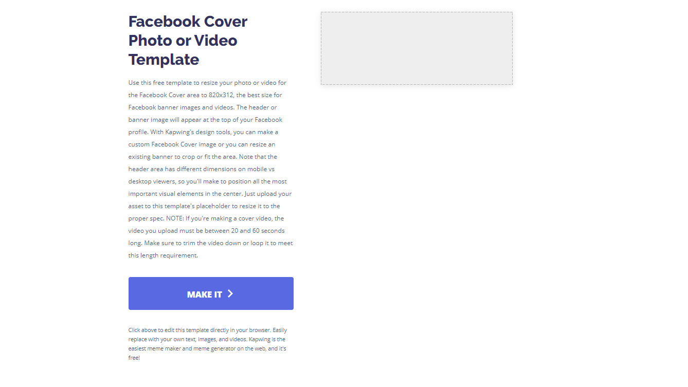 A screenshot of the Kapwing Facebook Cover photo template.